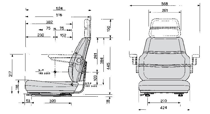 Bovendeel / Topper Cobo SC70 PVC met verstelrails