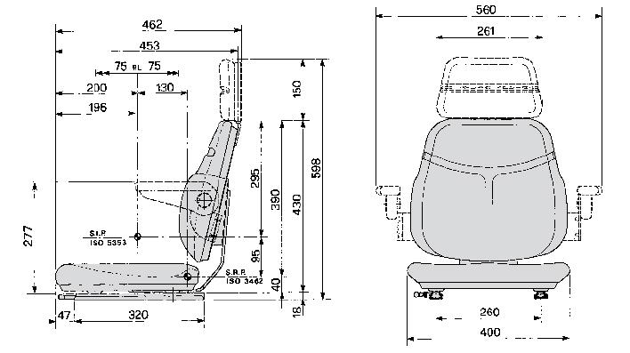 Bovendeel / Topper Cobo SC74 STOF met verstelrails / 40 cm