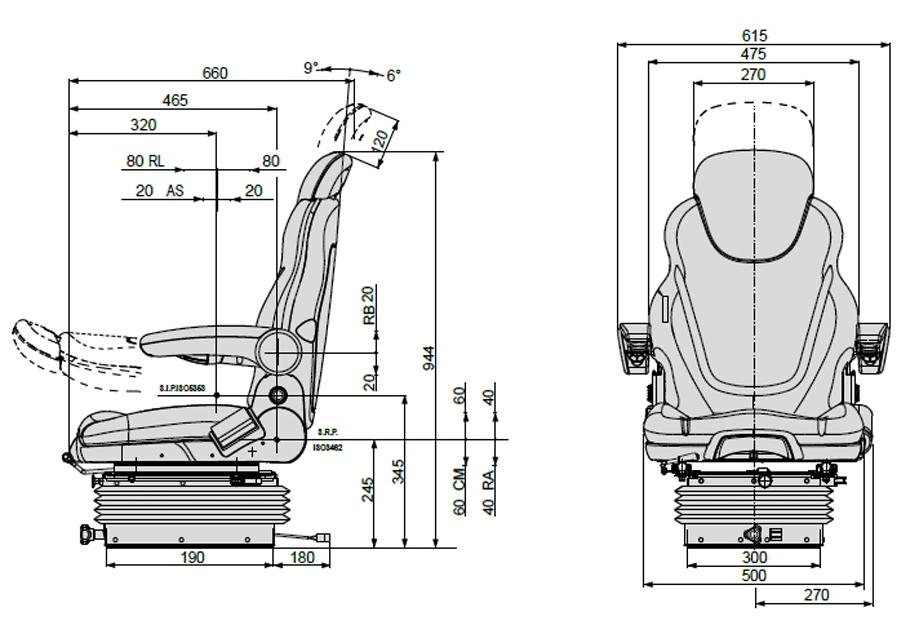 COBO luchtgeveerde bouwmachinestoel SC270/M98 12 Volt