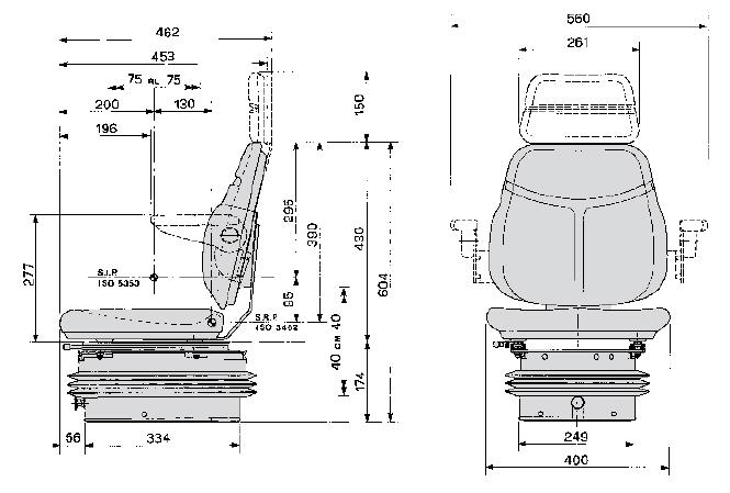 Cobo luchtgeveerde smalspoor tractorstoel SC74/M97 stof