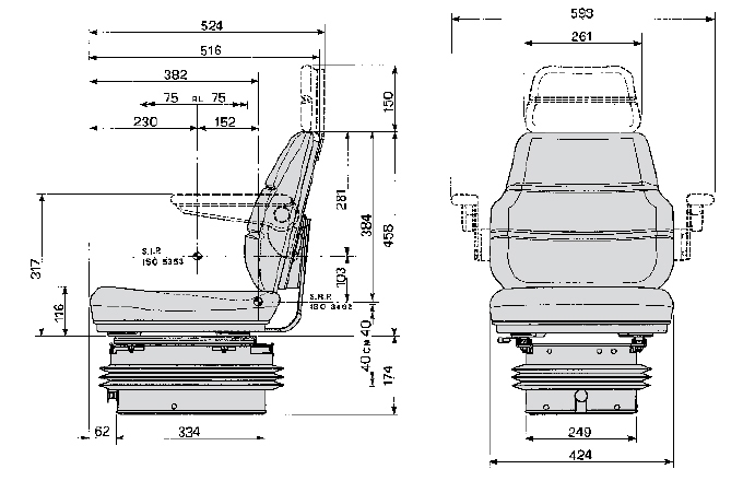 Cobo luchtgeveerde tractorstoel SC70/M97 stof Matilla