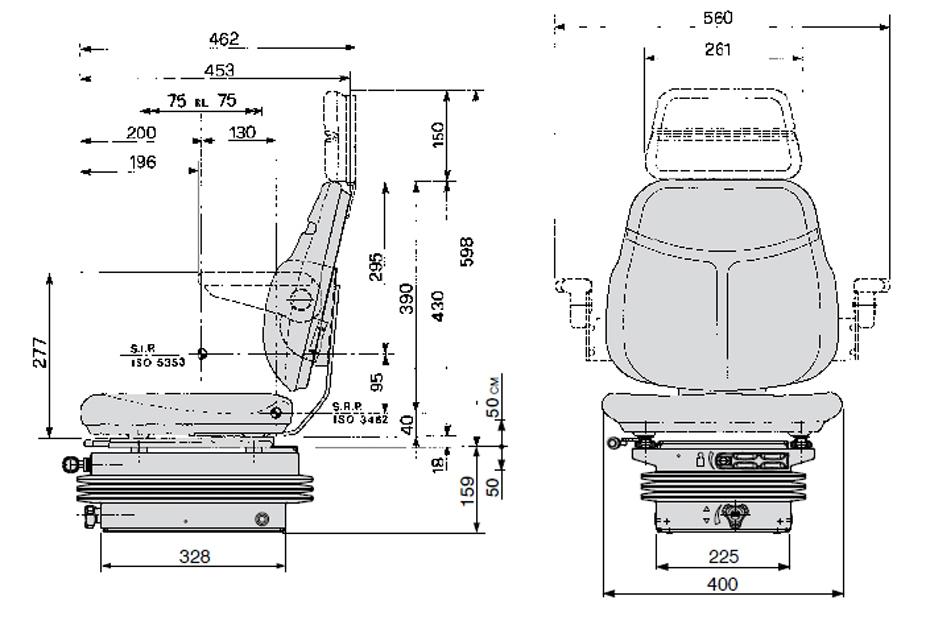 Cobo mechanisch geveerde tractorstoel SC74/M200 PVC zwart