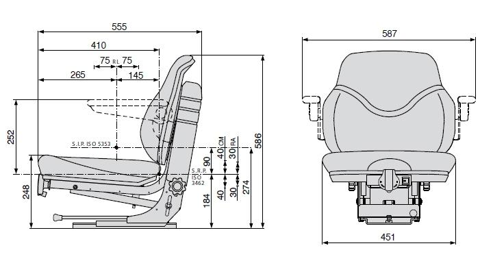 Cobo mechanisch geveerde tractorstoel SC79/M30 Stof zwart