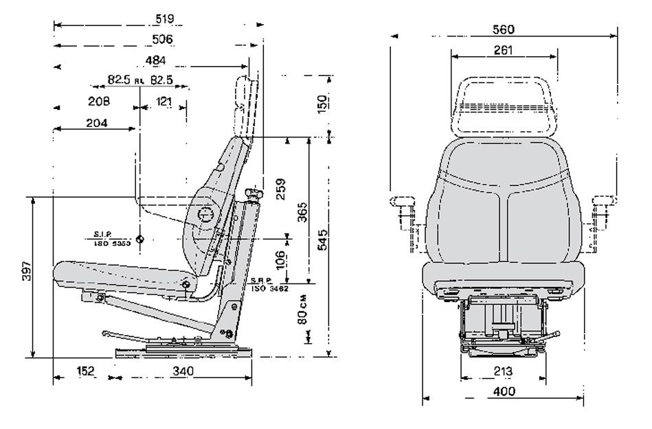 Cobo smalspoor tractorstoel SC74/M15 PVC zwart