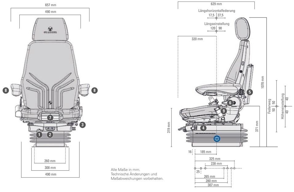 Grammer luchtgeveerde stoel Actimo XL MSG95A/722 12 Volt gz
