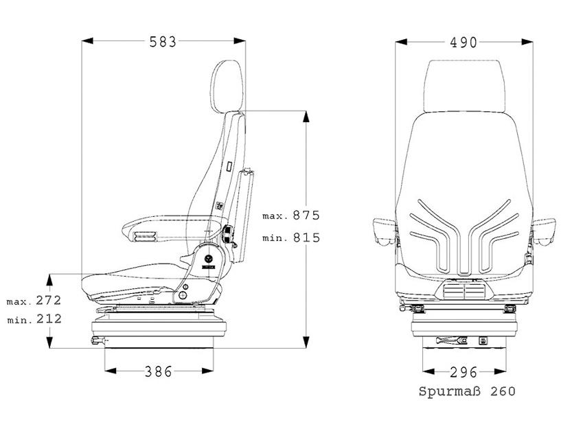 Grammer mechanisch geveerde bouwmachinestoel Actimo M Basic