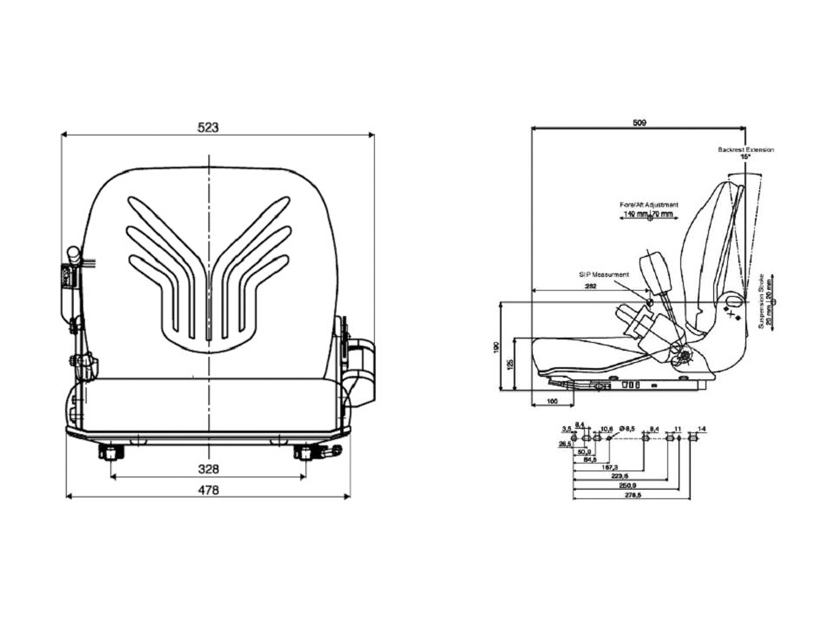 Grammer mechanisch geveerde heftruckstoel B12 PVC