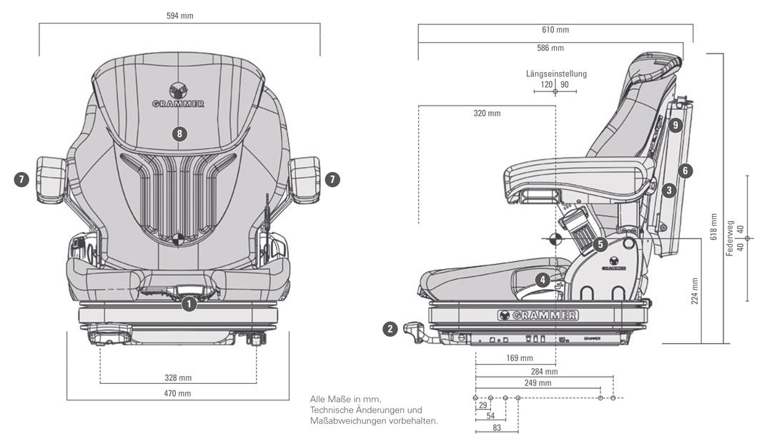Grammer Primo L luchtgeveerde heftruckstoel 12 Volt stof bz