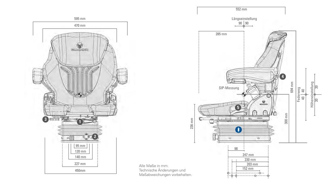 Grammer tractorstoel Compacto Basic M stof AGRI