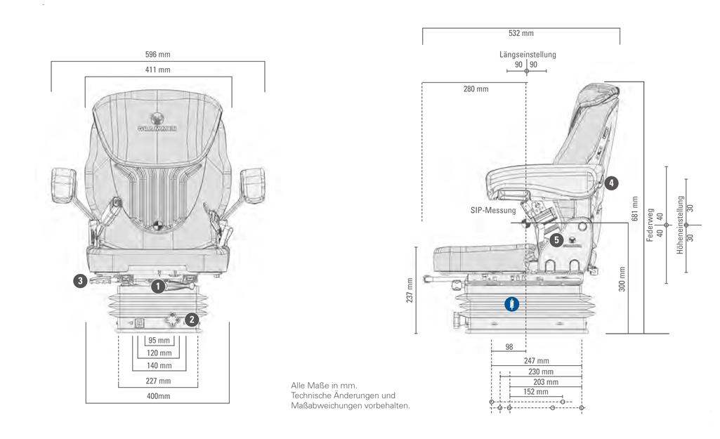 Grammer tractorstoel Compacto Basic S Kunstleer Zwart