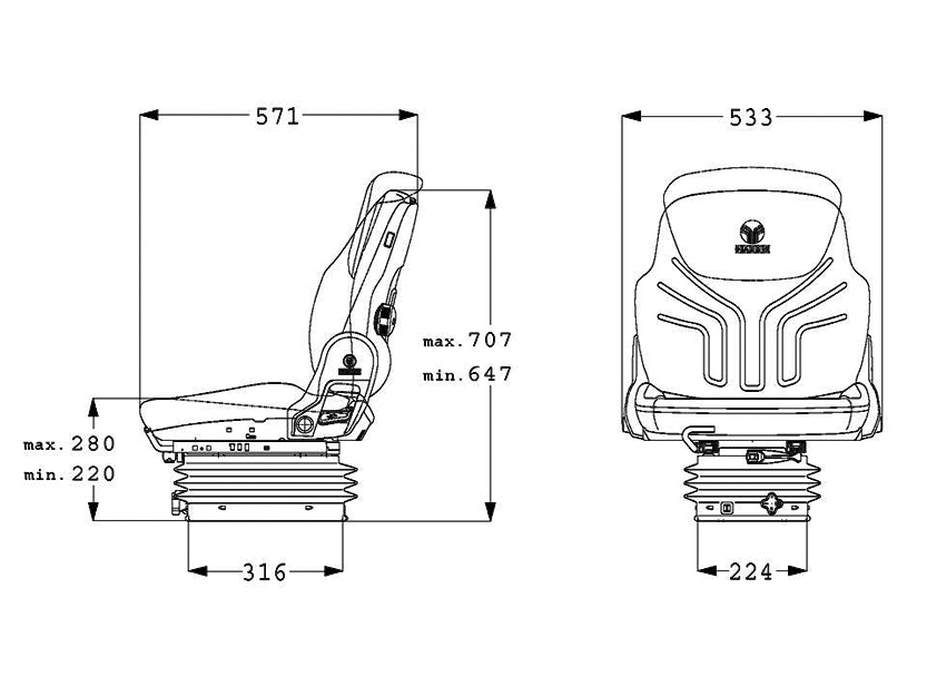 Grammer tractorstoel Compacto Basic W Kunstleer Zwart