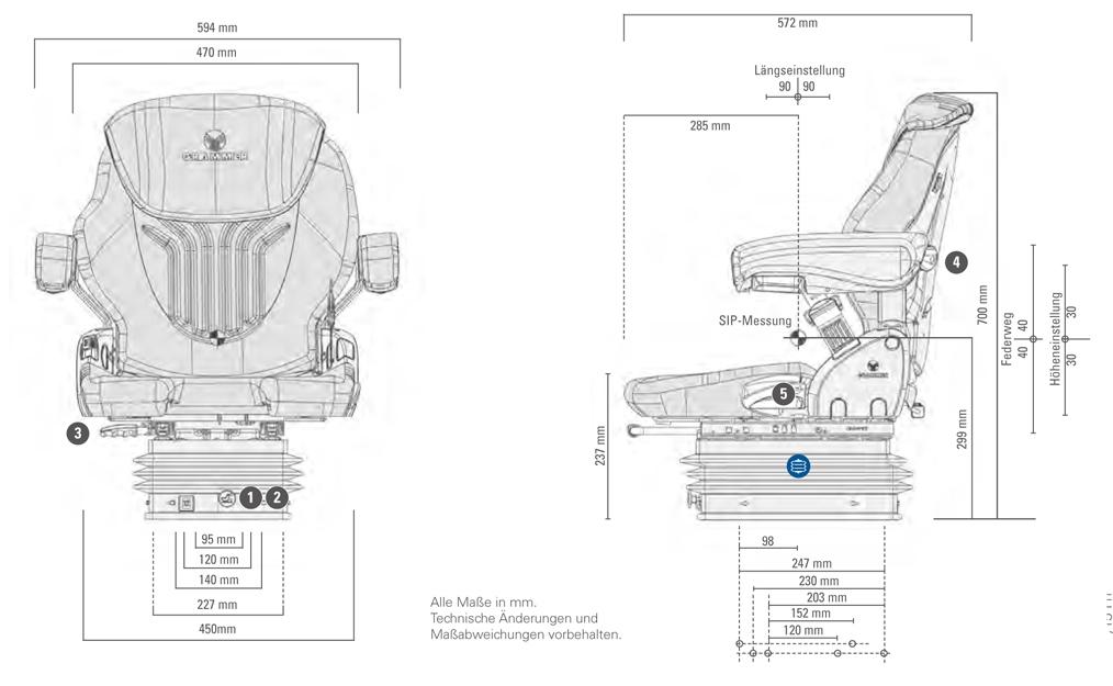 Grammer tractorstoel Compacto Comfort M Kunstleer Zwart