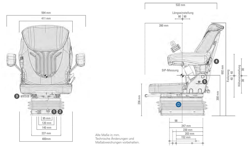 Grammer tractorstoel Compacto Comfort S Kunstleer Zwart