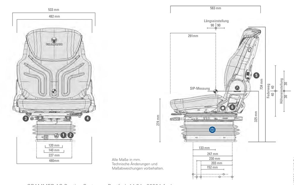 Grammer tractorstoel Compacto Comfort W Kunstleer Zwart