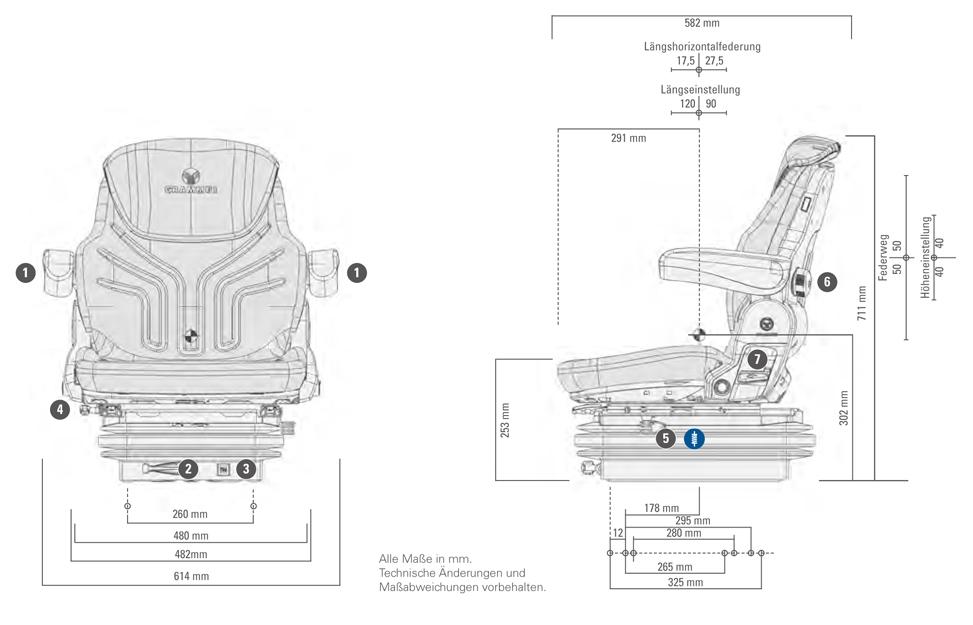 Grammer tractorstoel Maximo Basic met horizontaalvering
