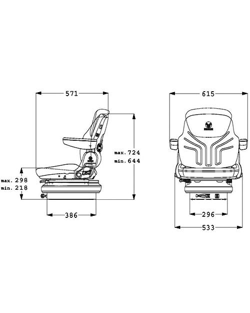 Grammer tractorstoel Maximo M basic stof met armleuningen