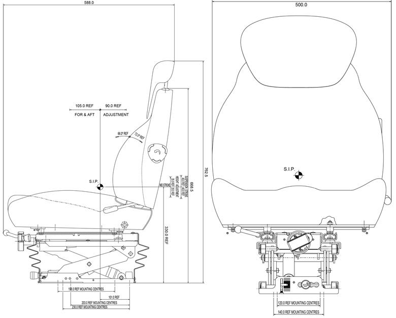 KAB11/E6 mechanisch geveerde tractorstoel   stof storm - pvc