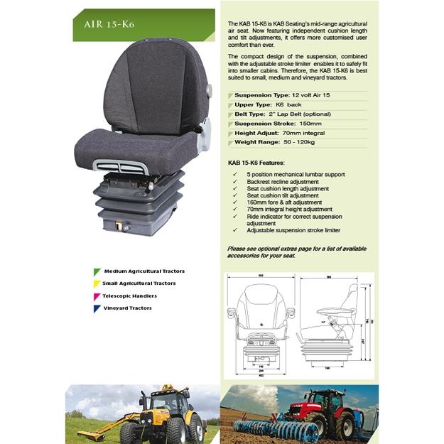 KAB15-K6 luchtgeveerde stoel stof met verstelbaar zitkussen