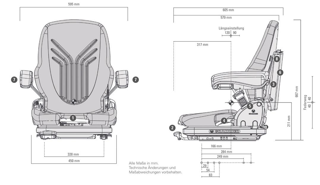 Mechanisch geveerde Grammer Primo XXM MSG65/522 stof bz