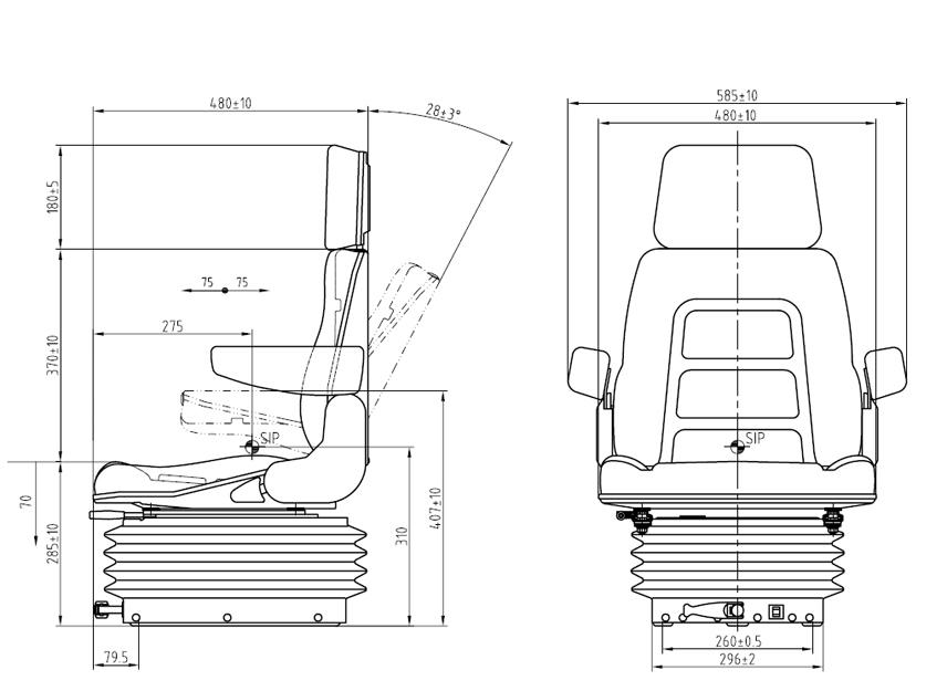 Mechanisch geveerde tractorstoel E85/H90 PVC