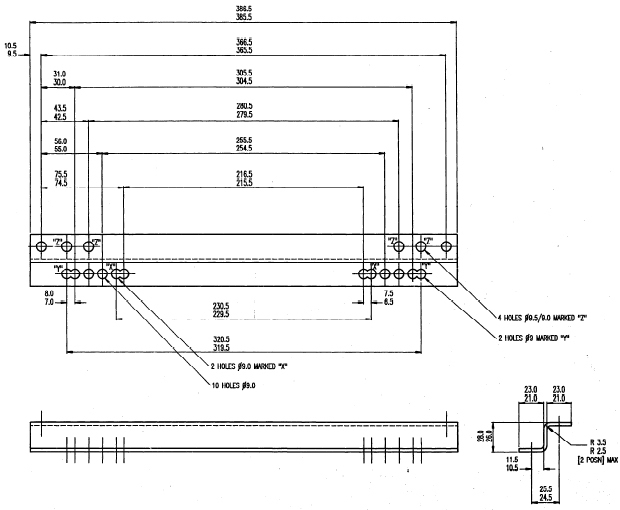 Montageconsole / Z-Bracket voor inbouw stoelen - per set