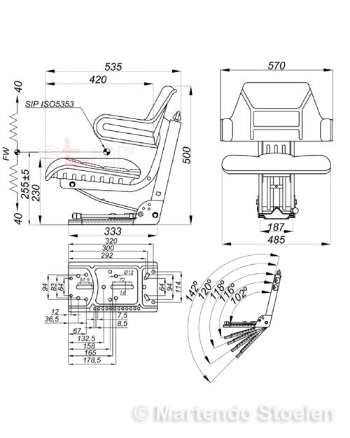 Tractorstoel STAR MS44/2 PVC GEEL / schuine en vlakke mont.