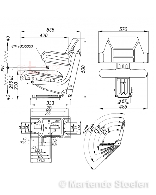 Tractorstoel STAR MS44/2 PVC ZWART / schuine en vlakke mont.